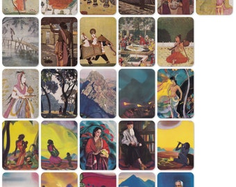 India. Set of 52 Vintage Prints, Postcards -- 1950s-1980s