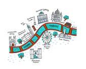London River Thames Map - 5x7 Print