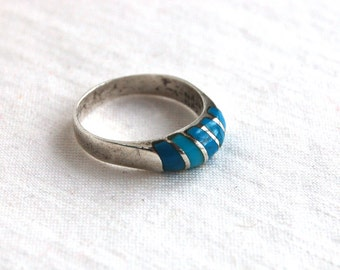 Blue Striped Ring Size 5 .75 Mexican Sterling Silver Vintage Stacking Band Turquoise Stripes Stackable Jewelry