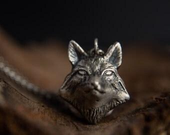 Fox Necklace-Silver Fox Pendant-Solid Silver Fox Head Pendant-Woodland Inspired Jewellery