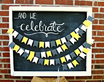 Yellow Gray Petite Flags 12 ft. Garland: 1st Birthday Girl, Smash Cake Decor, Baby Shower Decor, Bridal Shower, Flag Garland, Photo Backdrop