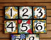 Original design hand painted number tiles