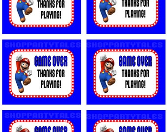 Super Mario Bros wii Birthday Boy Party Printable GAME OVER Thanks for playing thank you favor tags Instant download