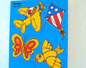 """Vintage Puzzle - """"Things That Fly"""" - Wooden Tray - Playskool - 70's - Retro Toy"""