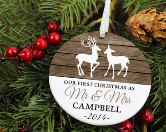 Our First Christmas as Mr and Mrs Ornament - Deer - Personalized Porcelain Newlywed Christmas Tree Ornament  - Just Married - orn457 -Rustic