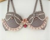 SALE 34B -Dusky Mauve & Pink Bra Set- Burlesque, Fusion Belly Dance, Promo, Faerie, Mori