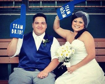 Photobooth Props - Royal Blue Team Bride & Team Groom Foam Fingers