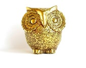 Brass Owl Statue Gold Owl Vintage Owl Sculpture Photo Prop