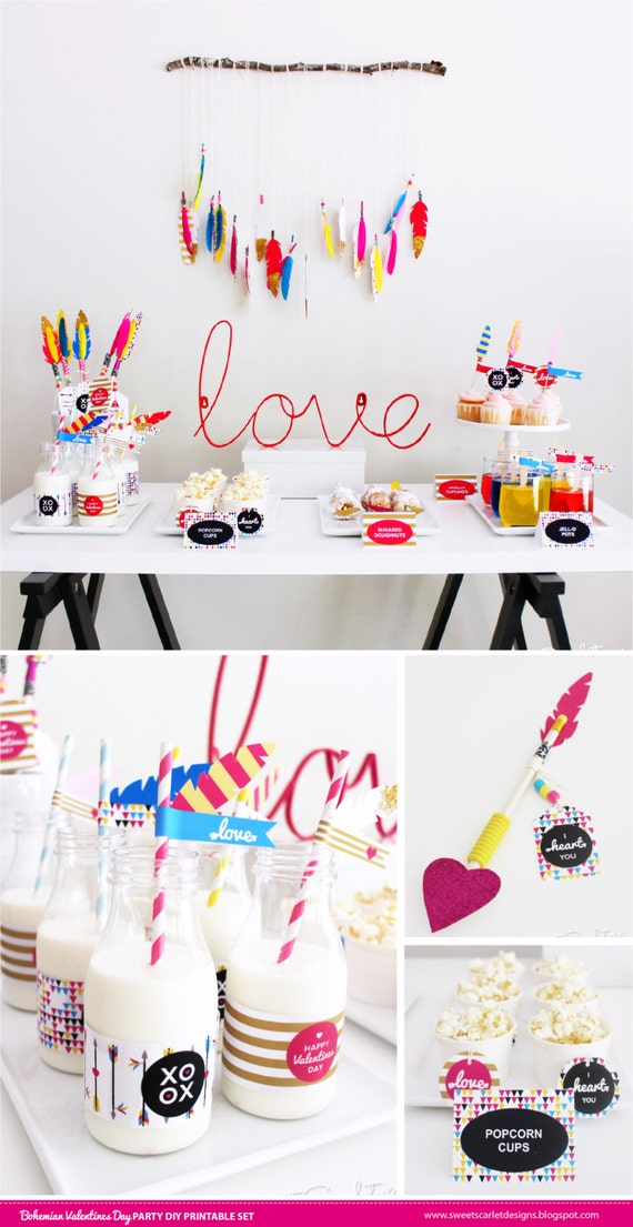 VALENTINES Printable Set - Bohemian Indian Boho Arrow Style Includes Cupcake Toppers, Favor Tags and more. DIY You Print.