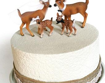 Family Redneck Cake Topper / Deer Cake Topper / Wedding Cake Topper / Rustic White Tail Deer Cake Topper