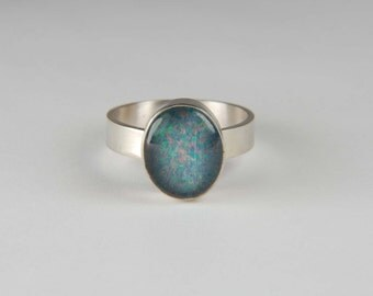 Opal Ring Artisan Ring Wide Band Ring Handmade Gemstone Ring Bezel Ring Custom Ring Opal Jewelry