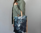 SALE! Crossbody Zip Tote - Hand Dyed Canvas