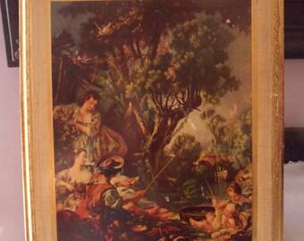 Florentine Toleware Picture from Italy, Florentine Renaissance Plaque