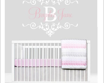 Vinyl Wall Decal Personalized Nursery Bedroom Wall Decal Girls Baby girl Bedroom Nursery Wall Decal Vinyl Wall Decals Elegant Scroll Decal
