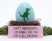 Anniversary Card for Husband - DINOSAUR - I'm Gonna Love You For A Billion Years - Custom Happy Anniversary Gift for Wife