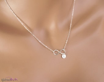 Double personalized infinity necklace, Bridesmaids necklace, Initial necklace, Friendship necklace, infinity necklace