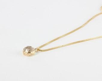 14k Gold Hand Engraved Leaf Necklace