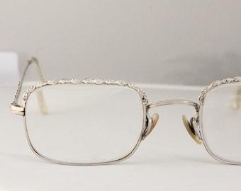 Vintage 50's 12k Gold Filled Squared Silver Eyeglasses