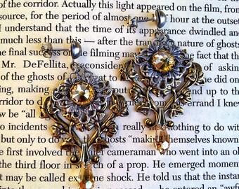 Victorian Gothic Earrings Swarovski Golden Shadow Post Earrings Victorian Gothic Jewelry