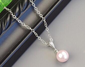 Pink Pearl Necklace - Silver Swarovski Pearl Bridesmaid Necklace - Pearl Bridal Necklace - Bridesmaid Jewelry - Wedding Jewelry