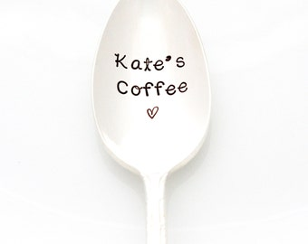 CUSTOM Stamped Coffee Spoon. Personalized Spoon. Handstamped by Milk & Honey. Coffee Lover Gift Idea. Free shipping.