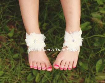 Ivory Tulle Twirl Flower Barefoot Sandals - Great For All Ages - Newborn Baby Shower Gift - Summer Infant Toddler Shoes