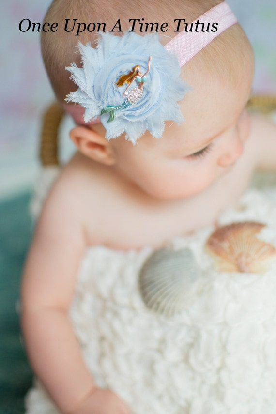 Under The Sea Blue Mermaid Headband Newborn Baby Beach