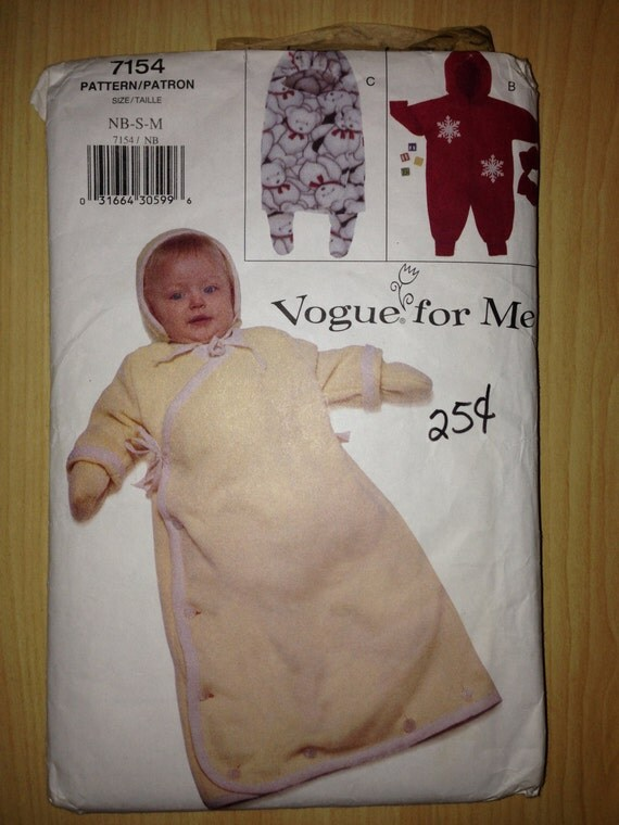 Vogue 90s Sewing Pattern 7154 Infants Bunting, Mittens and Hat
