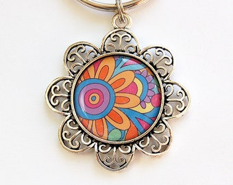 Flower keyring, Keychain, keyring, Key Chain, Key Chain, Key Ring, stocking stuffer, under 10, Abstract Design, Bright Colors, 60s (4482)