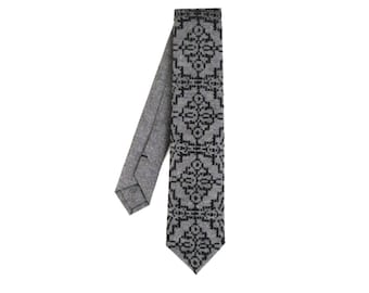 Black on Grey Screenprint Chambray Necktie, Silkscreen tie