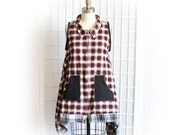Plaid Vest Lagenlook Style with Front Pockets Red White and Black Upcycled Recycled Clothing Medium Large