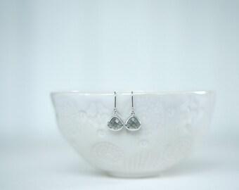 Silver and Grey Small Teardrop Earrings