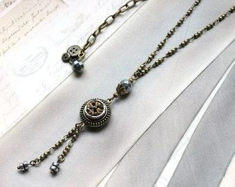 Victorian Button Necklace, Ornate yet Demure Antique Steel Cut Metal Button c.1890, Lariat, Antique Button Jewelry veryDonna