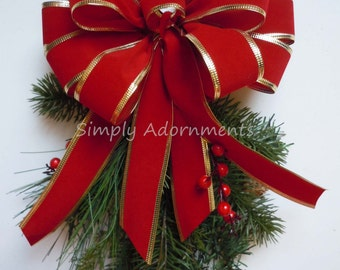 Red Gold Christmas Weatherproof Bow Indoor Outdoor Garland Bow Mailbox Bow Lamp Post Bow Christmas lamp Decor Christmas Lantern Bow Gift Bow