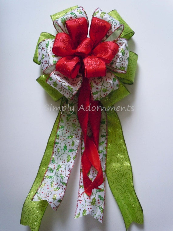 Whimsical Holly Christmas bow Red Green Christmas Wreath Door Bow Holly Christmas Bow Tree Topper Bow Wreath Swag Bow Christmas Swag Bow