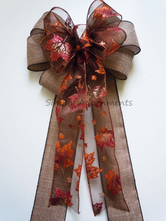 Brown bronze Wedding pew Bow Fall Door Bow Rustic Burlap Fall Leaves Wedding Pew Bow Thanksgiving Wreath Bow Autumn Wedding Church Pew Bow