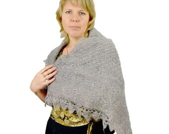 Orenburg Shawl Knitted Wrap Lace Shawl Shoulder Wrap Handmade Handspun  Handknit Winter Warm Gray Scarf Made In Russia Mother Gift
