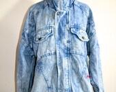 On Sale Vintage Acid Washed Denim Jacket Grunge 1980s Oversized
