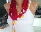 Cotton scarf with handmade Turkish crochet oya necklace bandana-red turkısh oya-red oya
