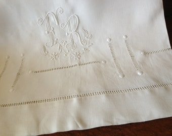Bolster Pillow Case Sham Romantic Antique French Linen Hand Embroidered Monogrammed Trousseau Case