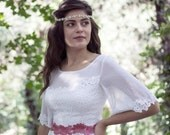 White Lace Bohemian Wedding Dress Boho Bridal Dress Long Wedding Gown Gypsy Wedding Gown - Handmade by SuzannaM Designs