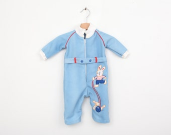 Vintage Bowling Romper with Bunny in Blue 3 to 6 months