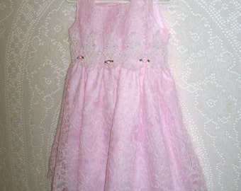 Size 2T - Little Girls' Dress - by Sugar Plum - Pink - Lace - Pearls - Made in USA - Easter