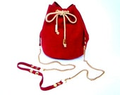 Red small leather purse / Bucket bag / Handmade leather bag / Red Italian suede leather