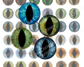 Eyes, Human, Lizard, Digital Collage, Instant Download, 1 inch, for Scrapbooking, Paper Crafts, Pendants, 242