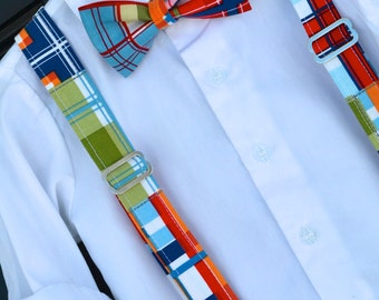 childs bowtie, madras bowtie, bright plaid bowtie, madras suspenders, baby bowtie, toddler bowtie, little boy bowtie, plaid braces, Easter