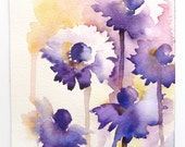 Echinacea Flowers, Watercolor Flowers, Abstract Flower Painting, Purple Flowers, Flower Art, Original Painting