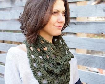 Crochet PATTERN woman cowl bandana neckwarmer women infinity loop circle scarf, DIY photo tutorial, Instant download