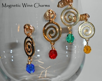 Celtic Spiral Crystal Wine Glass Charms, Magnetic Wine Charms, Celtiic Wine Glass, Stemless Wine Charms, Glass Stemware Charms, WC503G