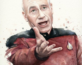 Annoyed Picard Meme Watercolor - ART PRINT, Giclee, Geek Decor, Star Trek Art